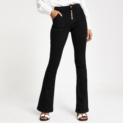 Black denim bootcut utility jeans