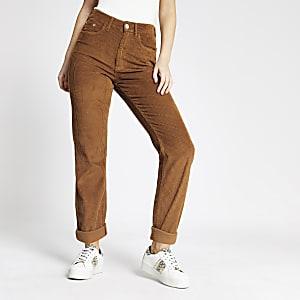 Mom - Bruine corduroy jeans met hoge taille