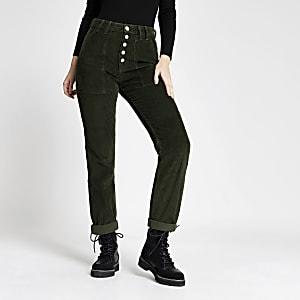 Grüne Mom-Jeans aus Cord mit Knopfverschluss