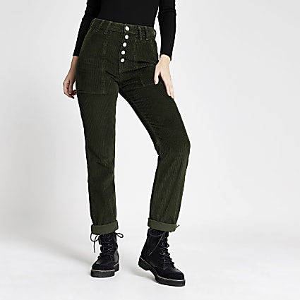 Green corduroy Mom button jeans