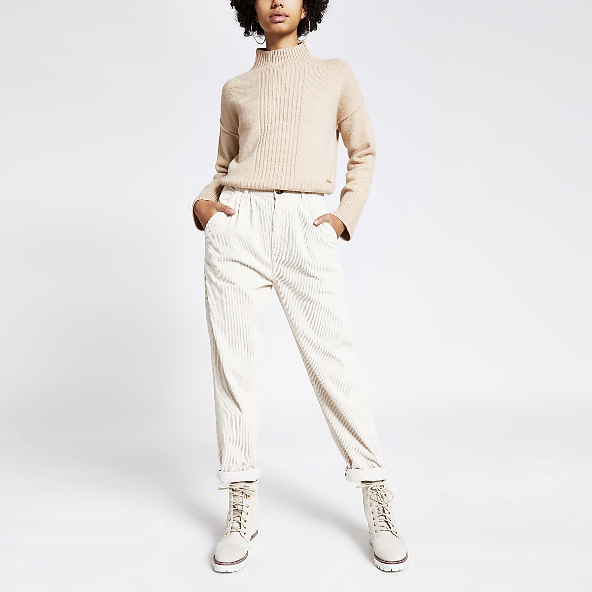 Cream corduroy high rise tapered trousers