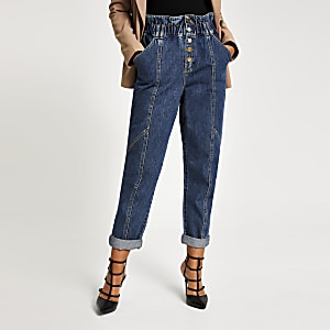 Paperbag-Jeans in Mittelblau mit Knopfleiste an der Vorderseite