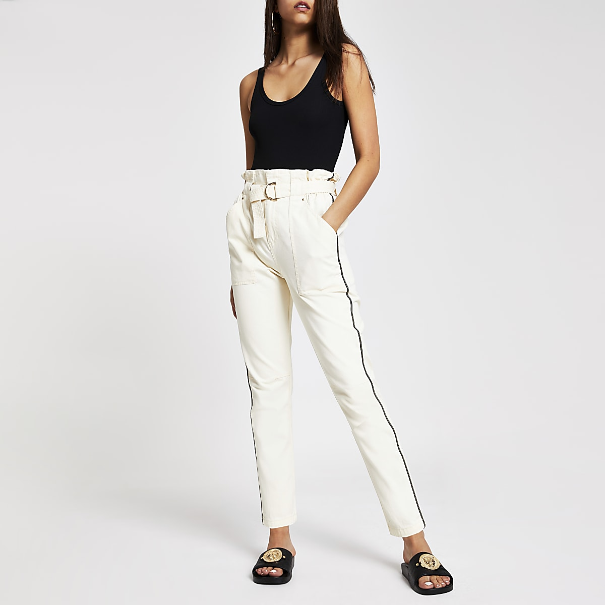 Cream paperpag waist utility trousers