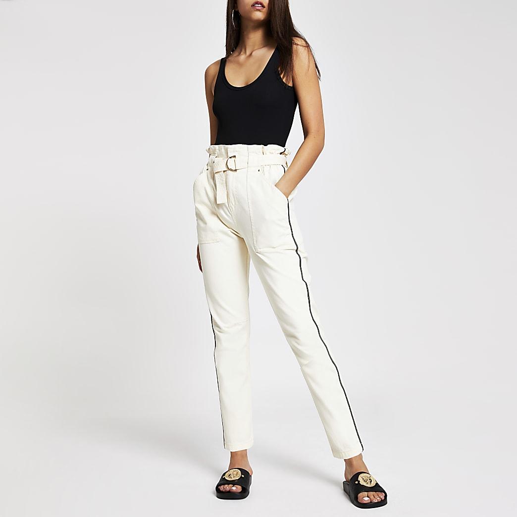 Pantalon crème fonctionnel à taille haute ceinturée