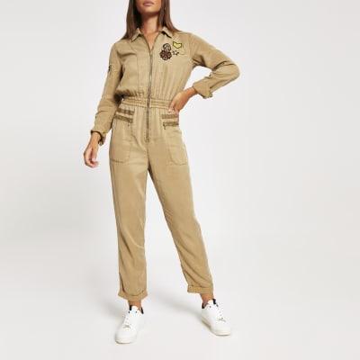 Khaki badge embellished boiler jumpsuit