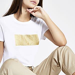 T-shirt blanc avec logo RI en relief