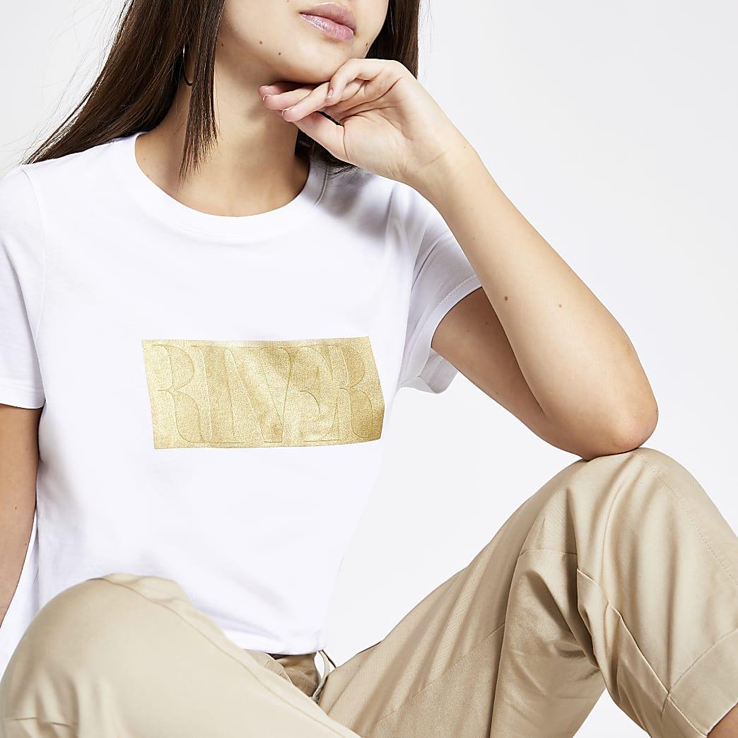 Weißes T-Shirt mit Prägung