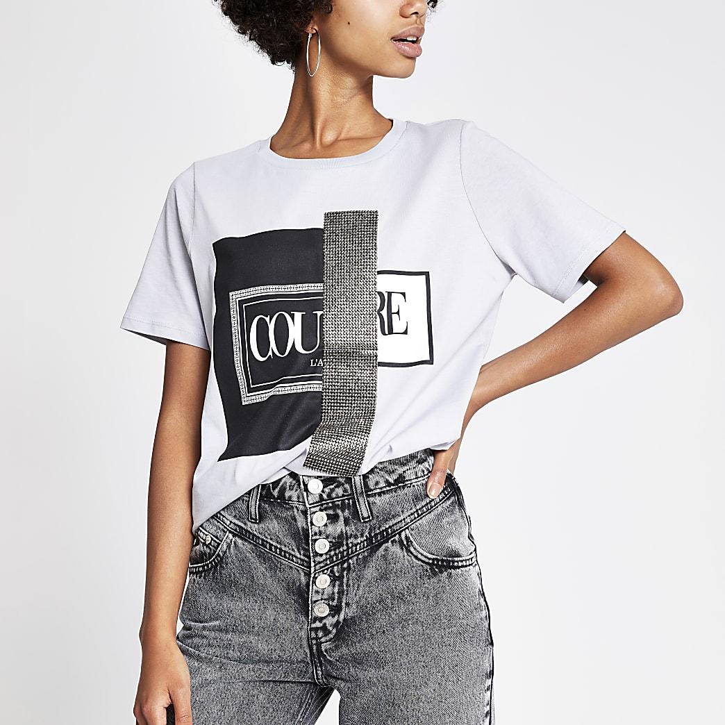 Grijs boyfriend T-shirt met 'Couture'-print en siersteentjes