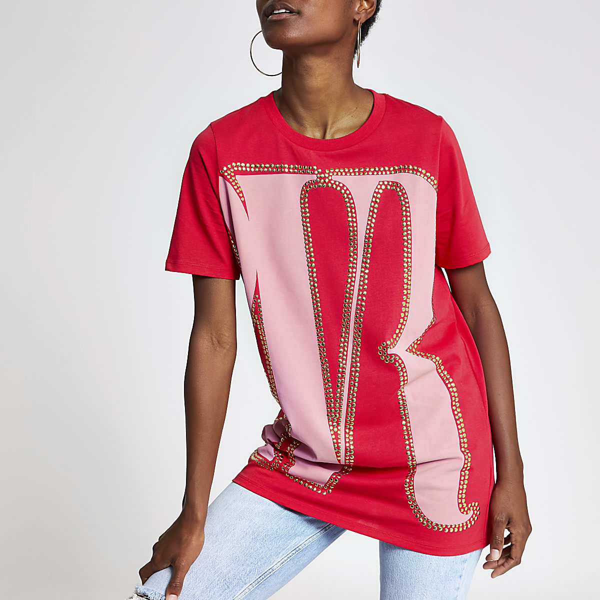 Red print oversized studded T-shirt