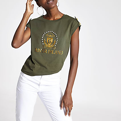 Khaki RI diamante crest T-shirt
