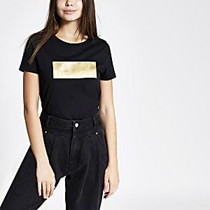 Schwarzes T-Shirt mit RI-Prägung