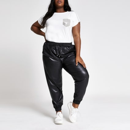 Plus black faux leather joggers