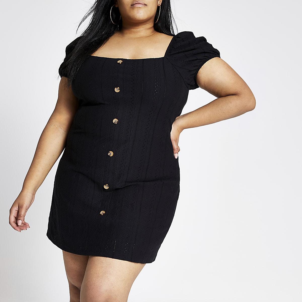 Black broderie button puff sleeve dress