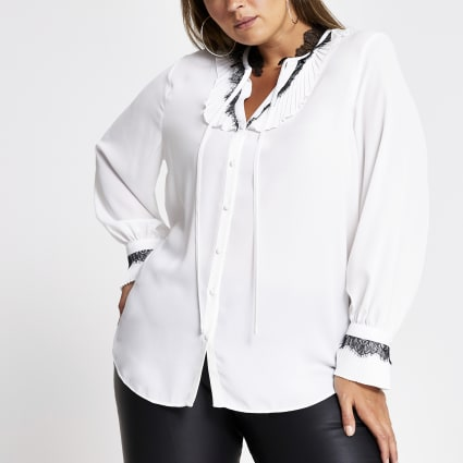 Plus white lace trim long sleeve blouse