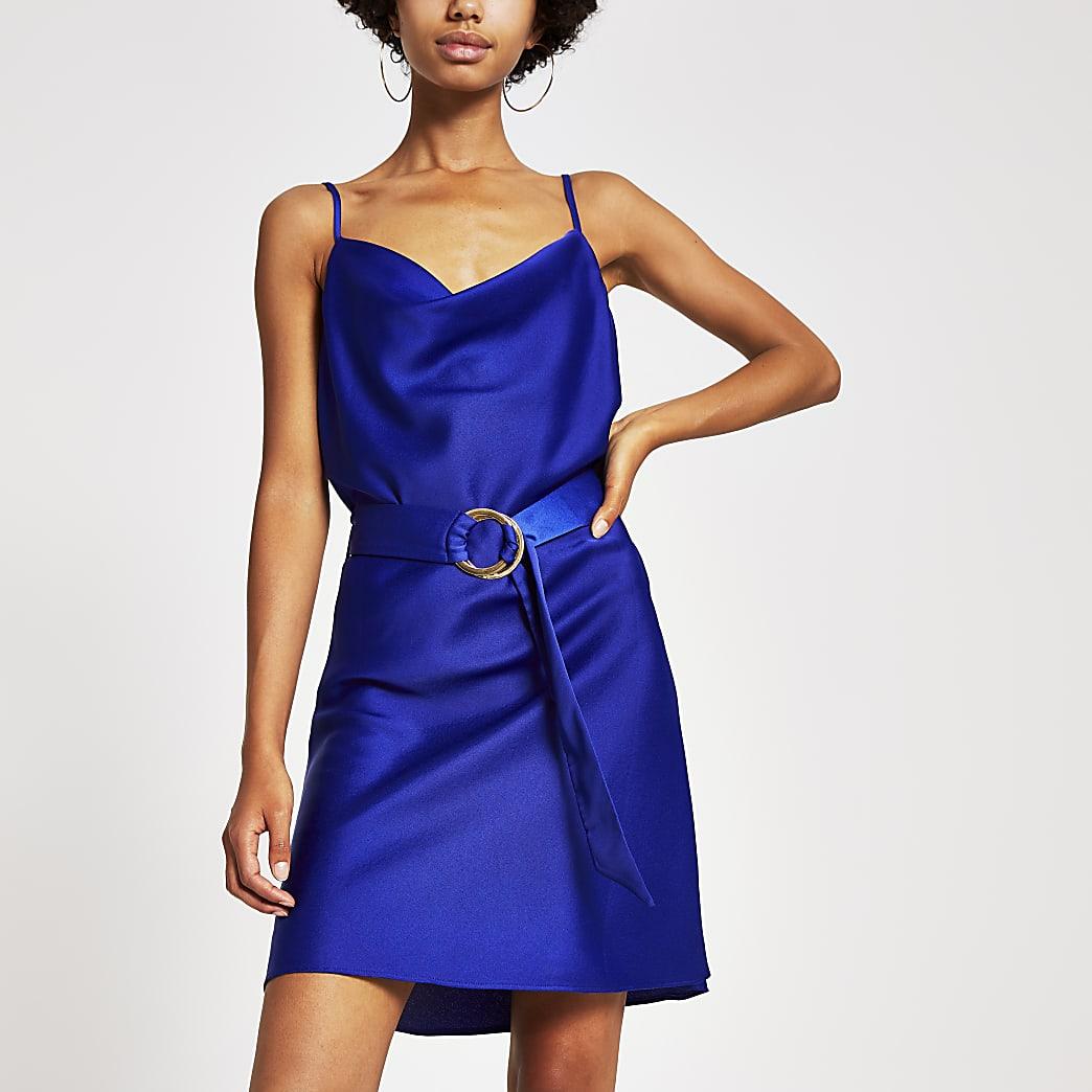 Blue cowl neck belted slip dress