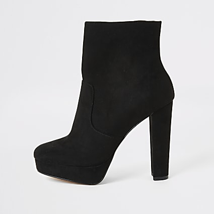 Black faux suede platform wide fit boots