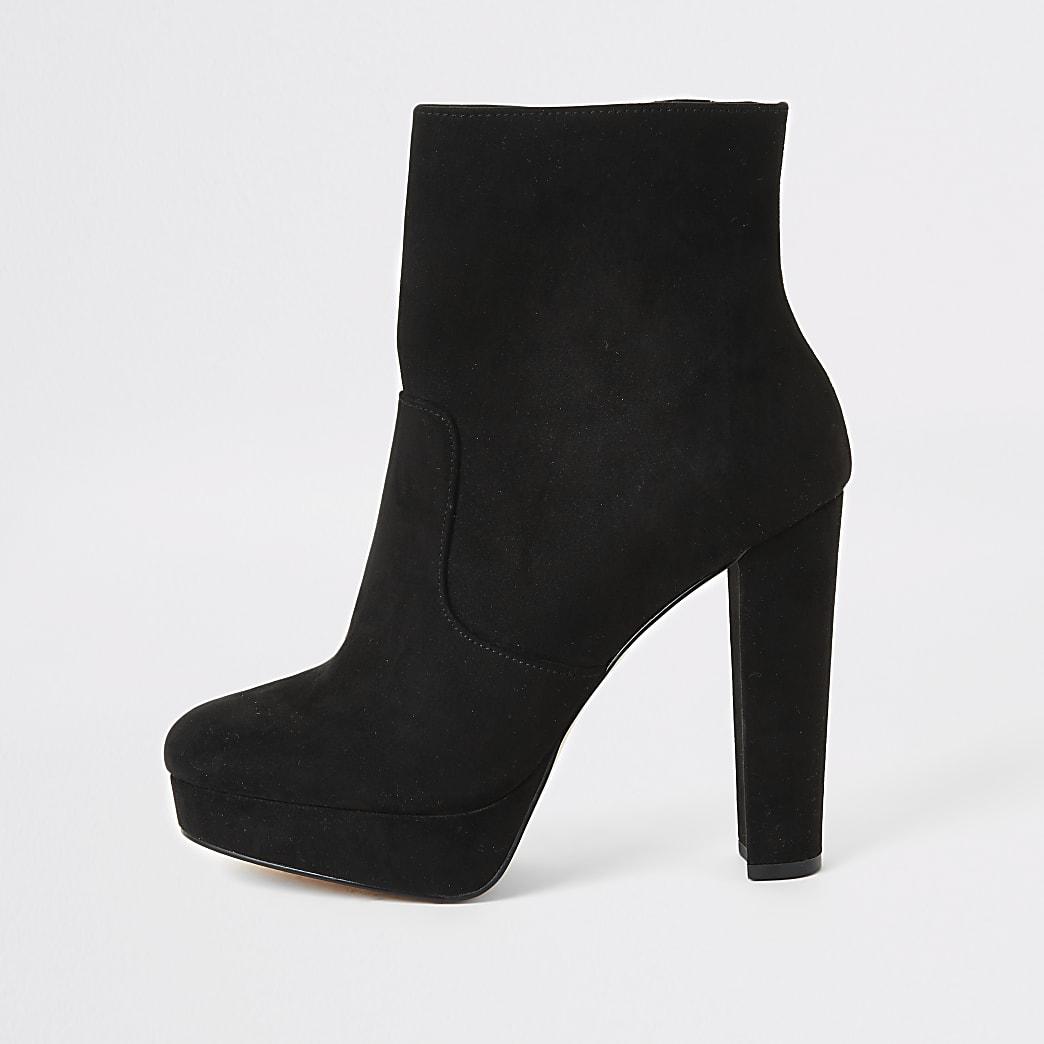 Wide-Fit Stiefel mit Plateau aus schwarzem Kunstwildleder