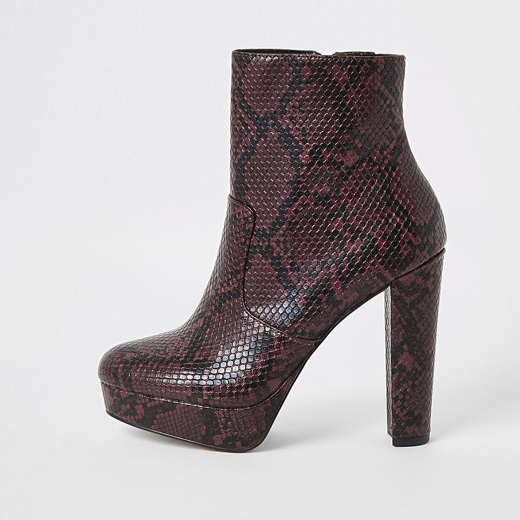 Red wide fit snake print platform boots