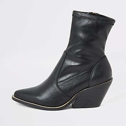 Black wide fit western heeled sock boots