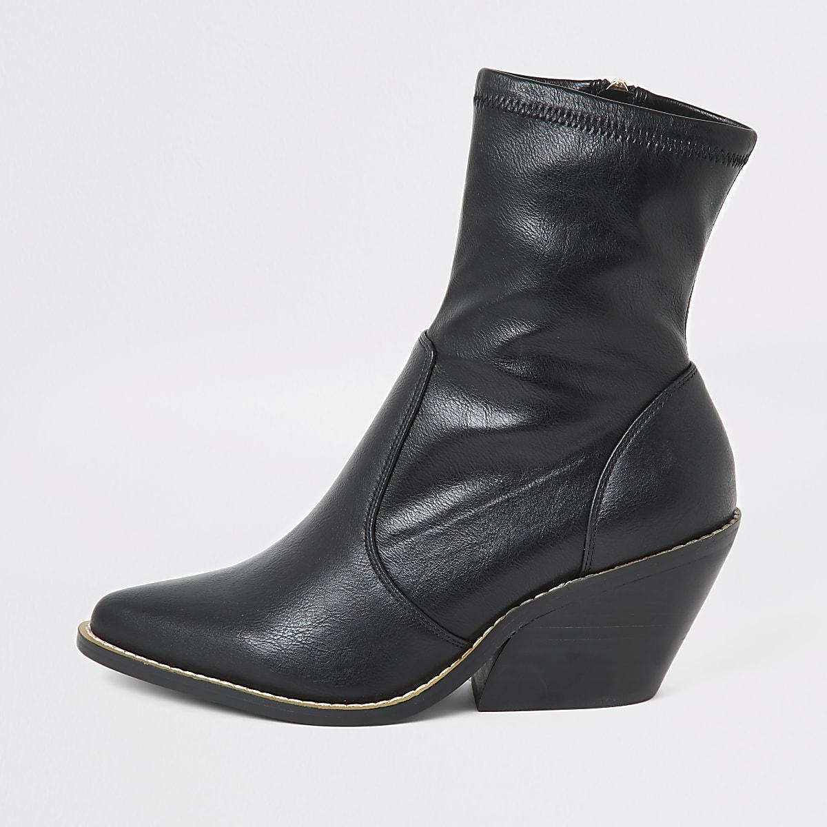 Zwarte western sock boots met hakken en brede pasvorm