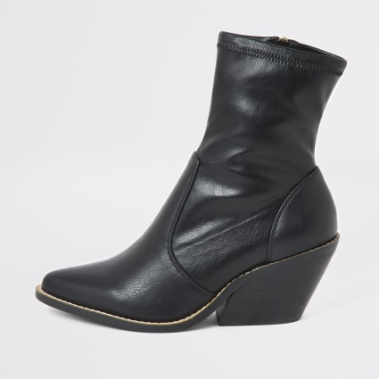 Black wide fit western heeled sock boots