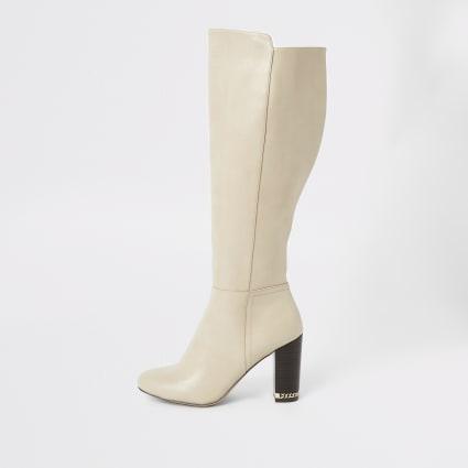 Beige over the knee block heel boots