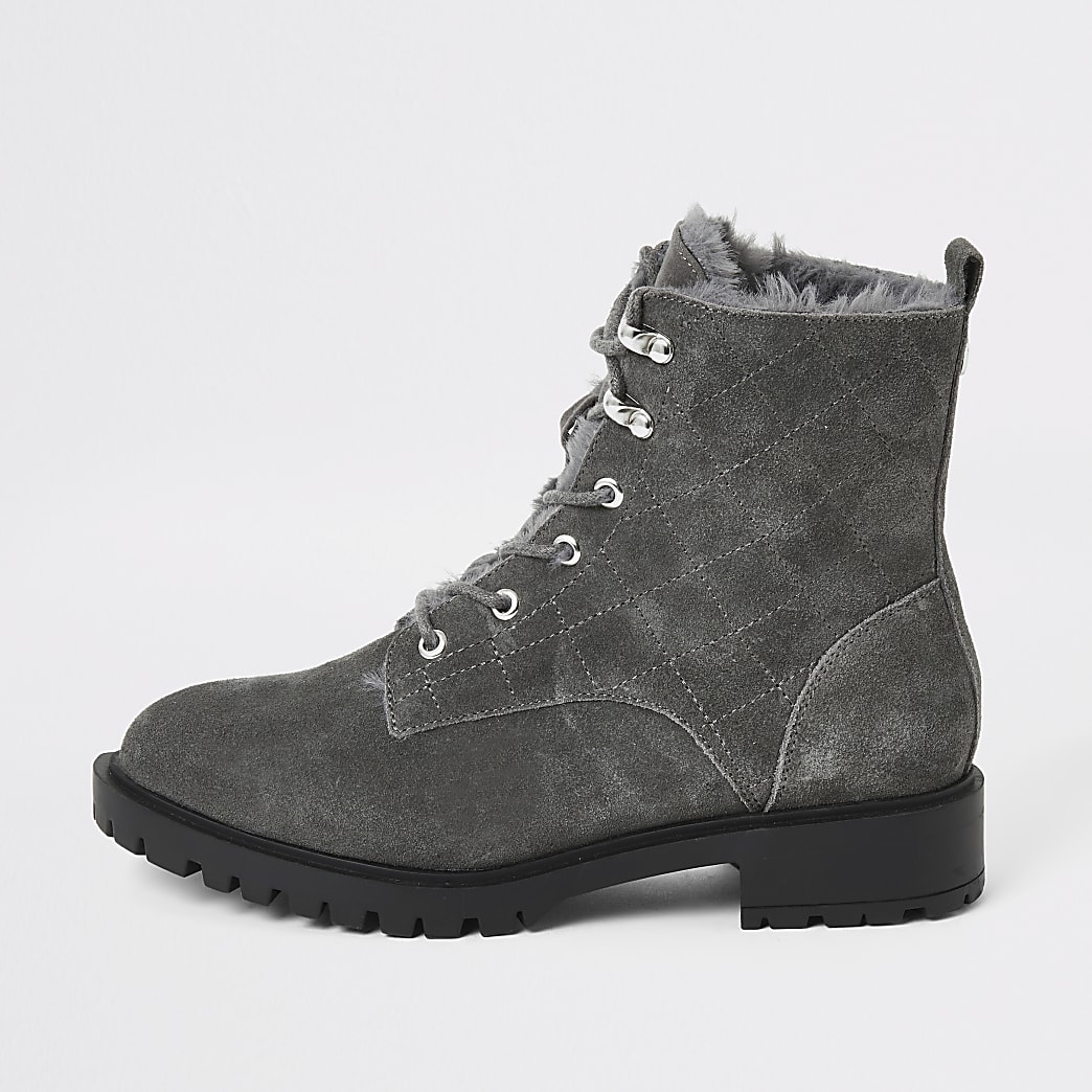 Grey suede quilted lace-up chunky boots