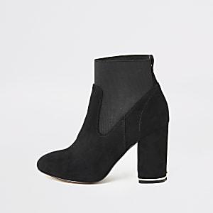 Zwarte elastische sock boots van imitatiesuède