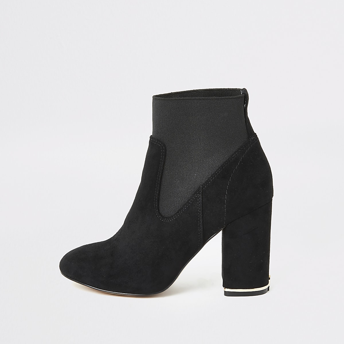 Black faux suede elasticated sock boots