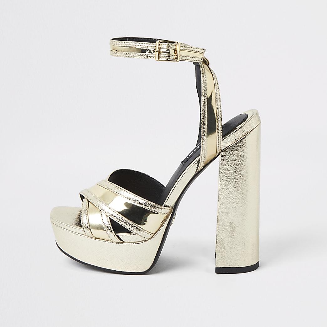 Gold metallic cross strap platform heels