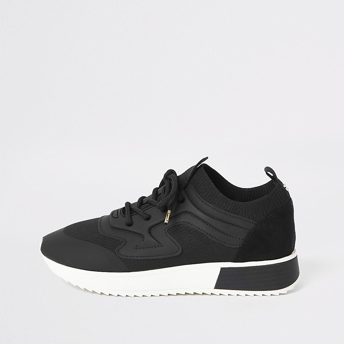 Black rubber panel cleated runner trainers