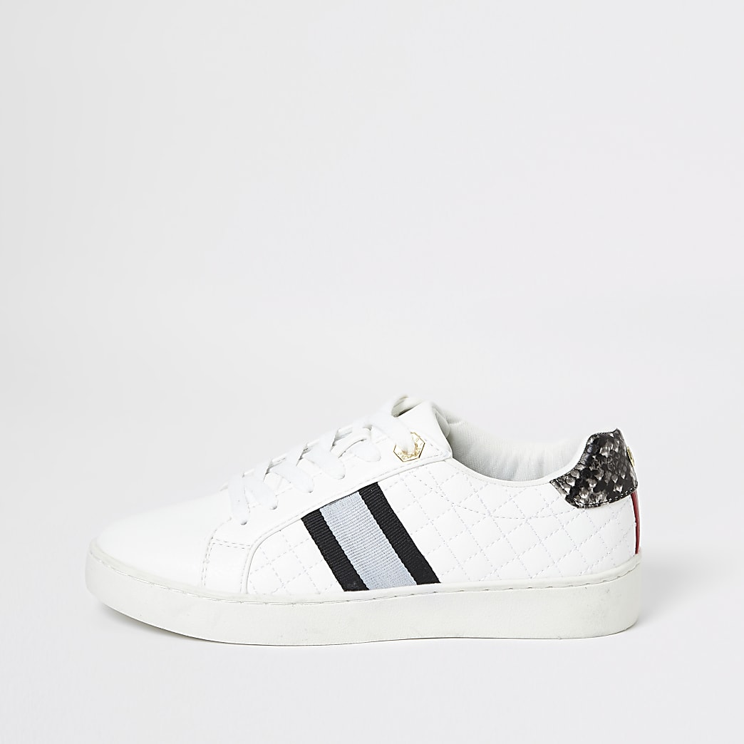 White quilted lace up trainers