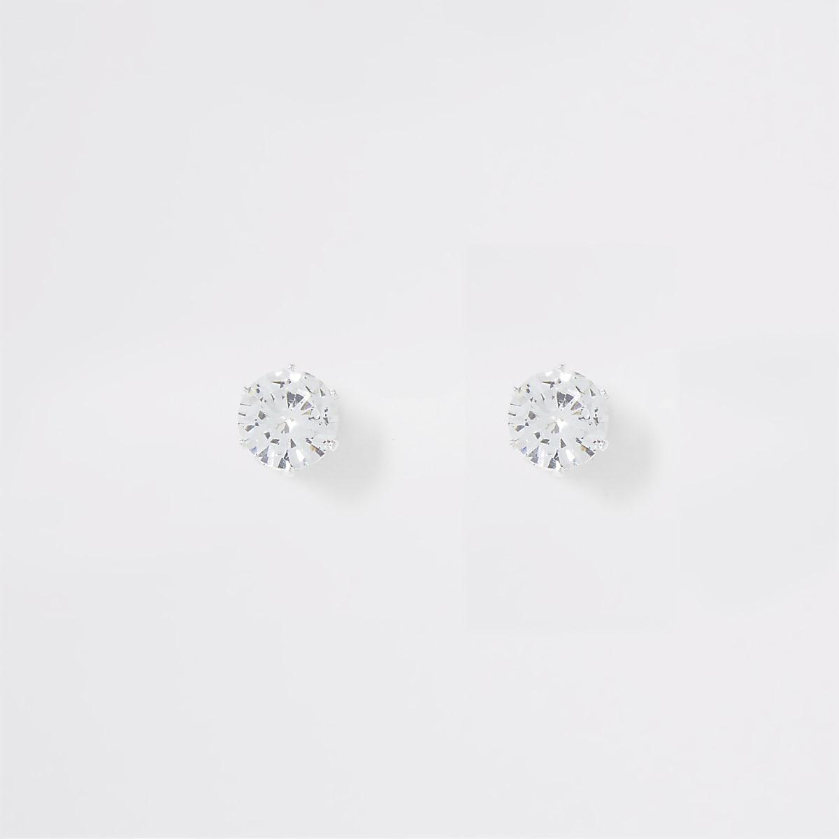 Silver colour diamante crown stud earrings
