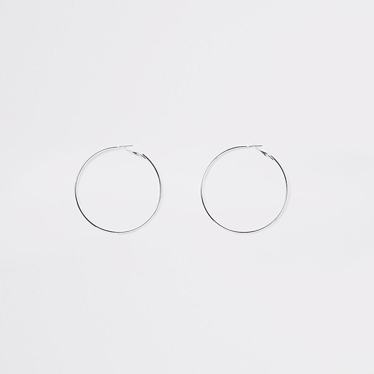 Silver colour hoop earrings
