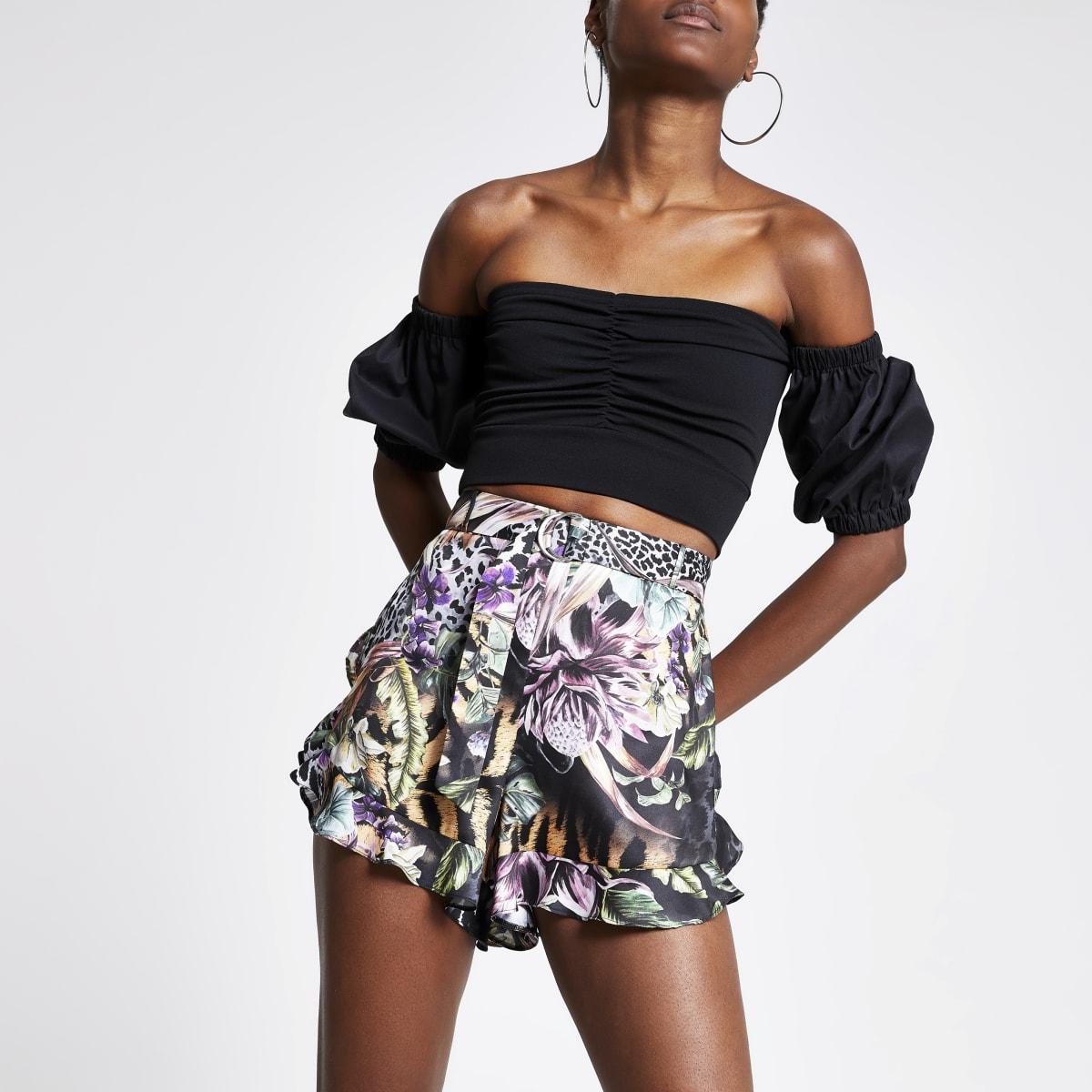 Black floral frill shorts