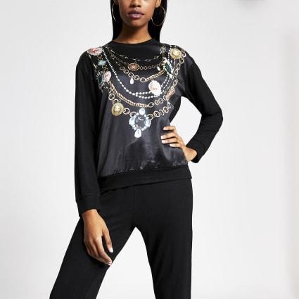Black jewel printed satin sweatshirt