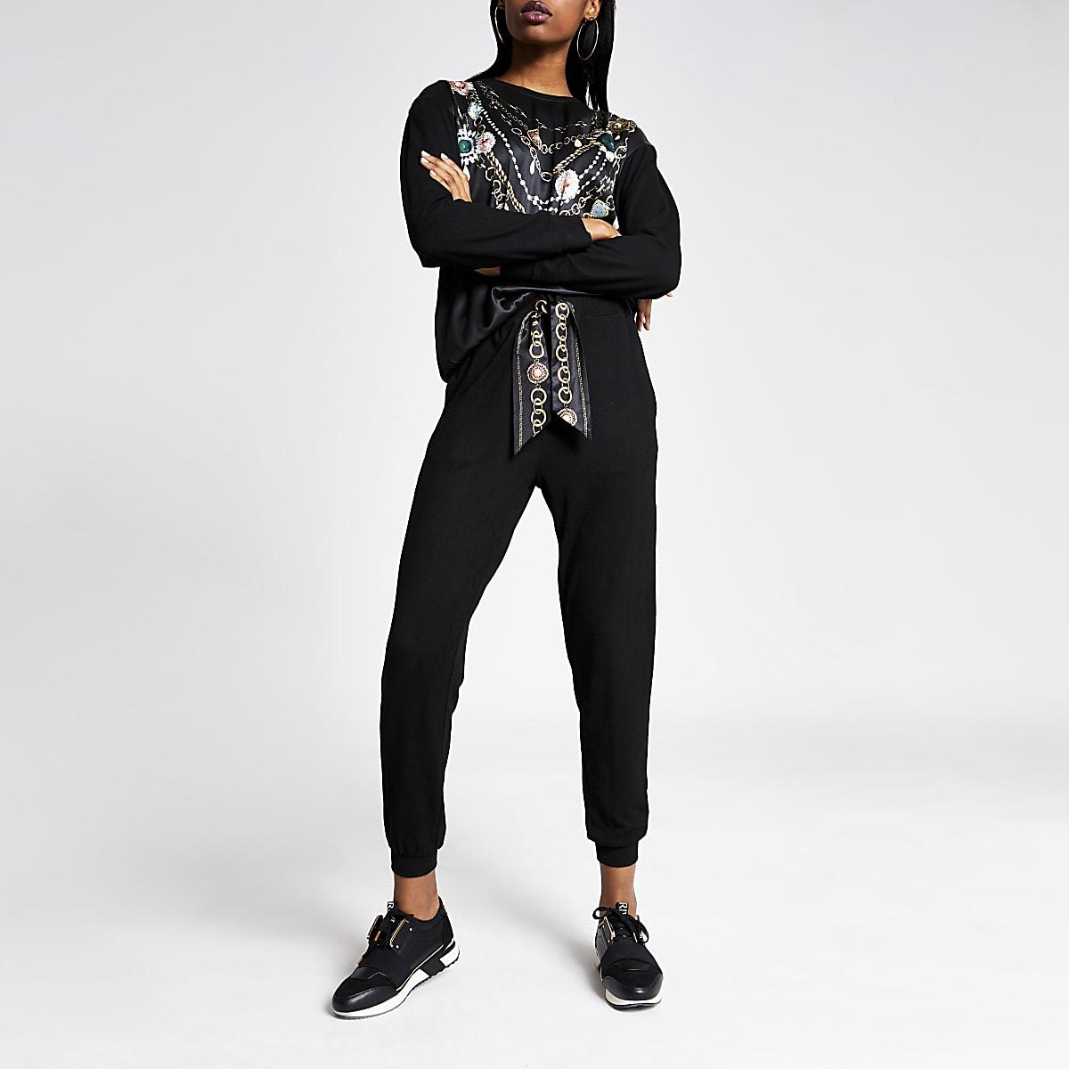 Zwarte satijnen jersey joggingbroek met strik