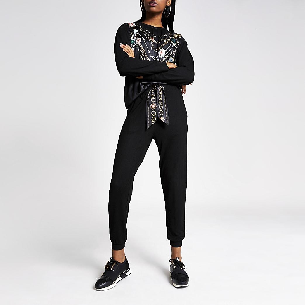 Black satin tie jersey joggers