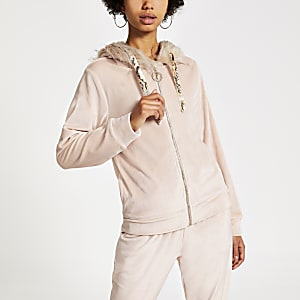 Sweatrose à capuche avec bordure en fausse fourrure