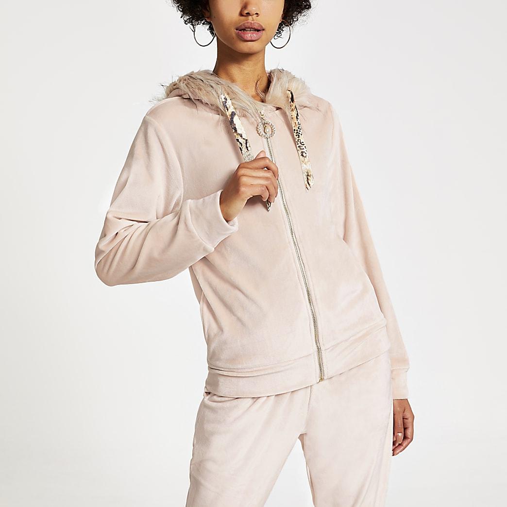 Pink velour faux fur trim hoodie