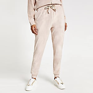 Pantalons de survêtement avec cordon en velours rose