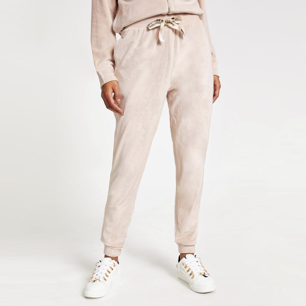 Pink velour drawstring joggers