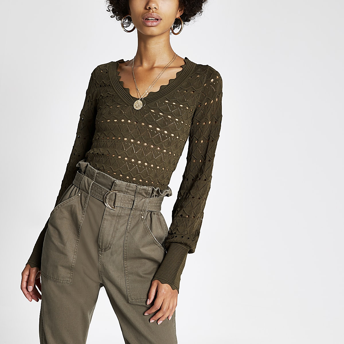 Khaki knitted long sleeve V neck crop top