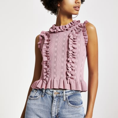 Pink Fitted Frill Trim Knitted Top by River Island