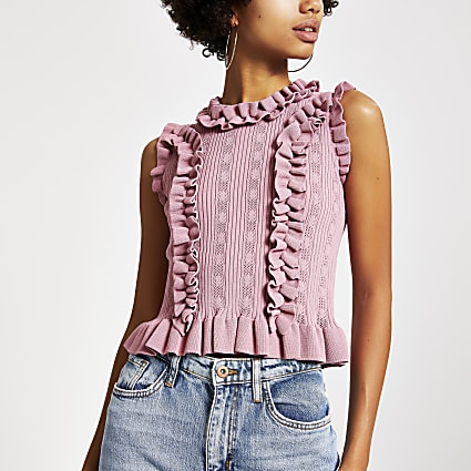 Pink fitted frill trim knitted top