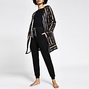 Schwarzes Pyjama-Robe aus Satin mit Kettenprint
