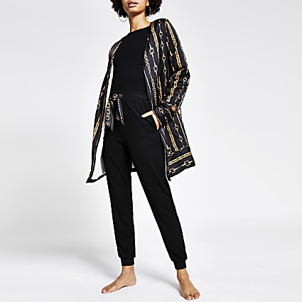 Black chain printed satin pyjama robe