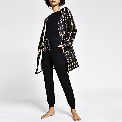 Black chain printed satin pyjama robe