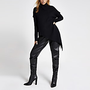 Black asymmetric long sleeve roll neck jumper