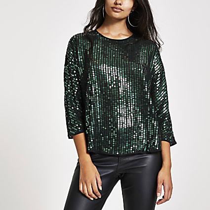 Green sequin embellished top